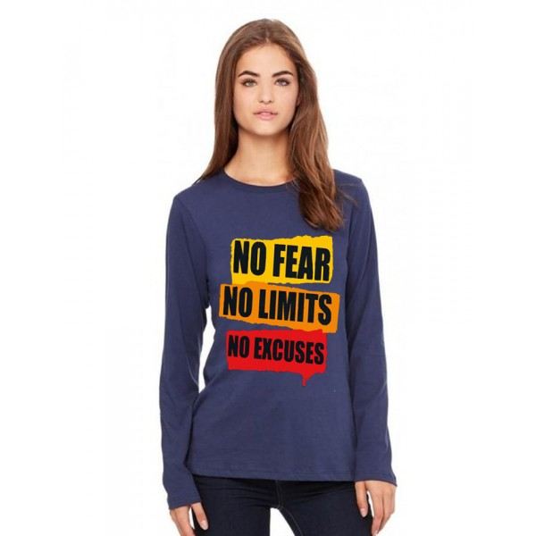 Navy Blue Full No Fear Printed Cotton T shirt For Her