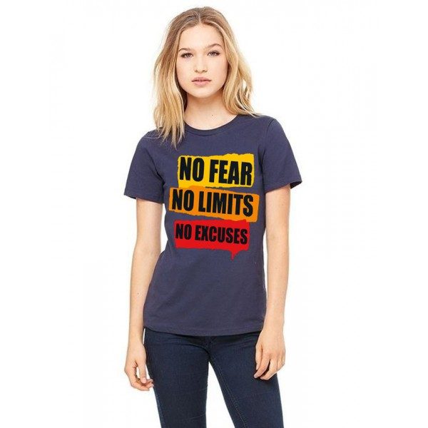 Navy Blue No Fear Printed Cotton T shirt For Her