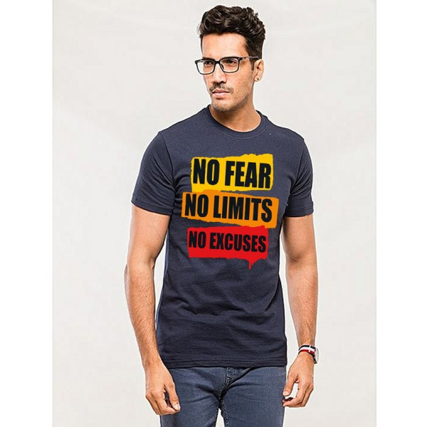 Navy Blue No Fear Printed Cotton T shirt For Him