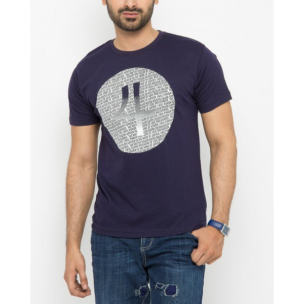 Navy Blue Numeric 4 Tshirts for Mens