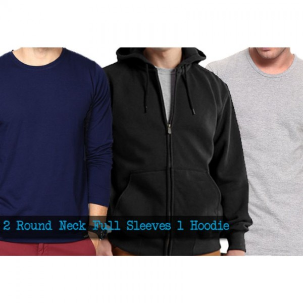 Mens Winter Bundle 2 Round neck full sleeve t-shirts 1 Hoodie