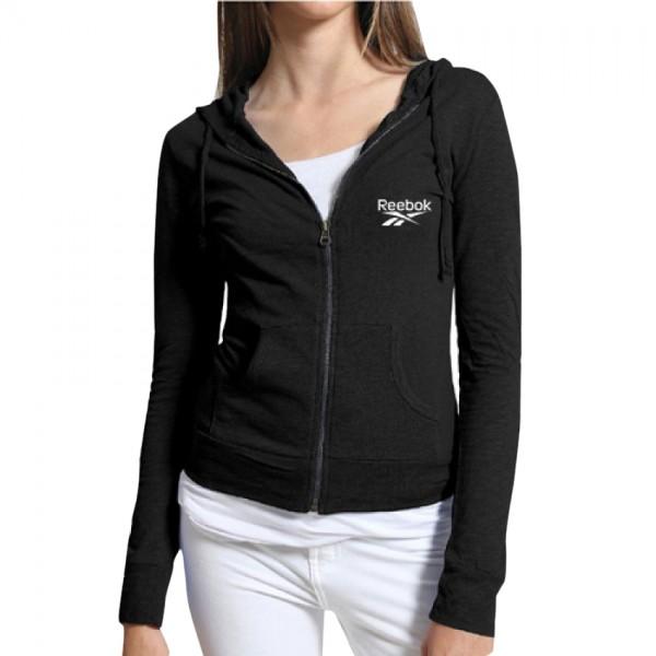Women Reebok Style Black Color Zipper Hoodie