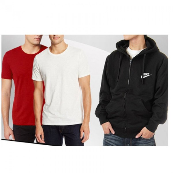 1 Hoodie With 02 Round Neck Cotton T shirt