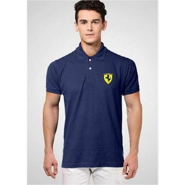 Navy Blue Ferrari Logo Polo Shirt
