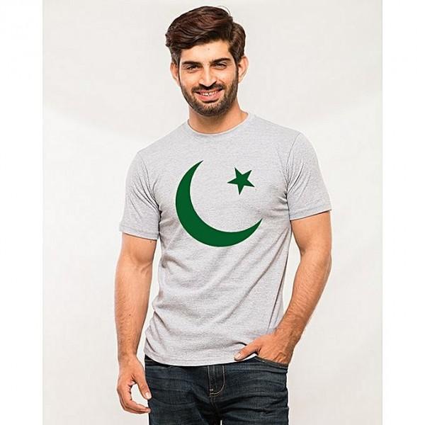 Heather Grey Pakistan Chand Taara Printed T shirt For Him