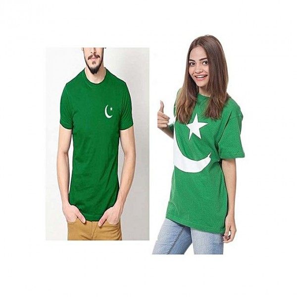 Pakistan Printed Green T shirt For Couple