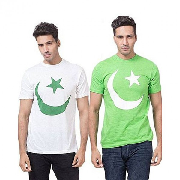 Pack of 02 Green and White Pakistan Printed T shirt for Men