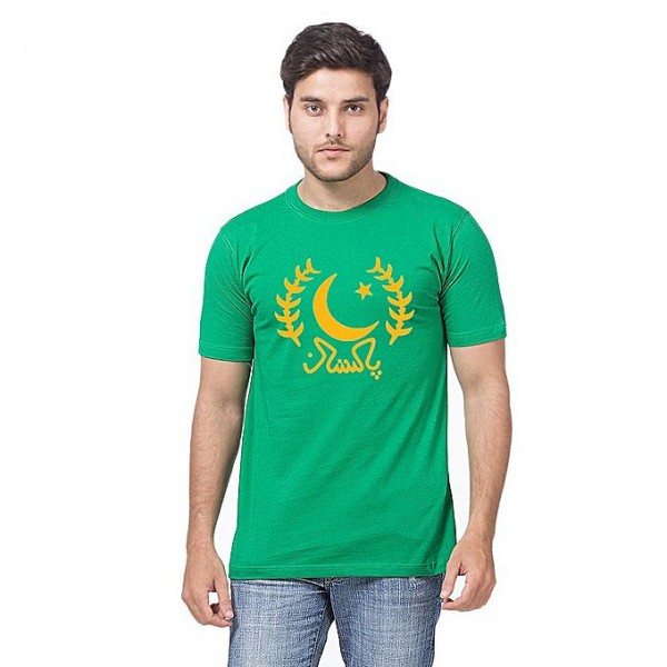 Green Color Pakistan Printed T shirt For Him