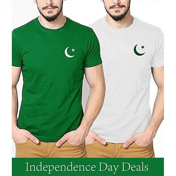 Pack of 02 Pakistan Printed chand taara T shirt For Him
