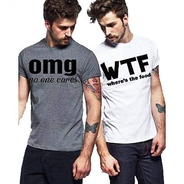 Pack of 02 Cotton Printed T shirts For Men
