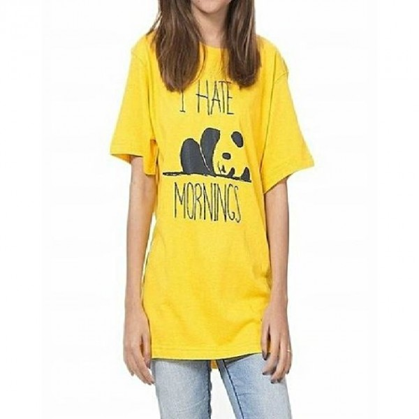 Yellow Color - I Hate Morning Printed T shirt For Her