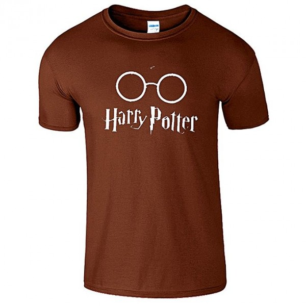 Brown Color Half Sleeves Harry Potter Printed Cotton T shirt For Him
