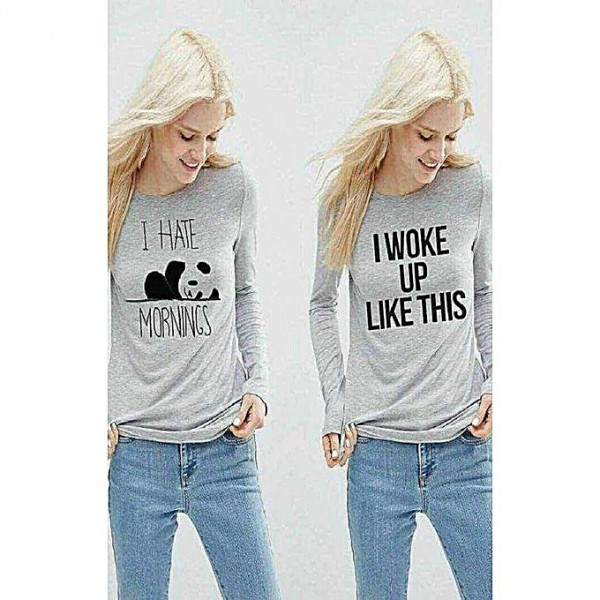 Pack of 02 Heather Grey Printed full Sleeves T shirts for girls