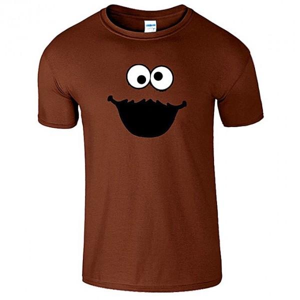 Brown Half Sleeves Cookie Printed Cotton T shirt