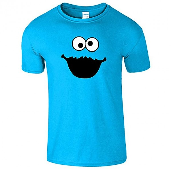 Turquoise Cookie Printed Cotton T shirt