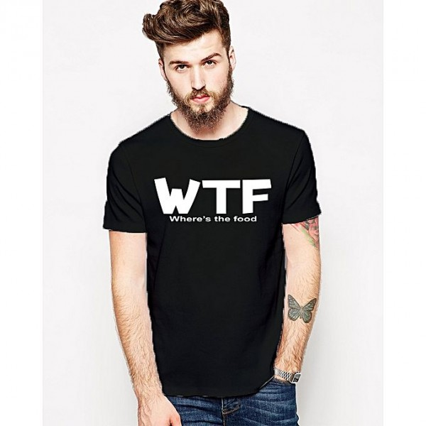 Black WTF printed t shirt for him