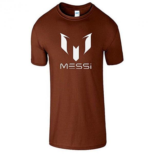 Brown Half Sleeves Messi Printed Cotton T shirt