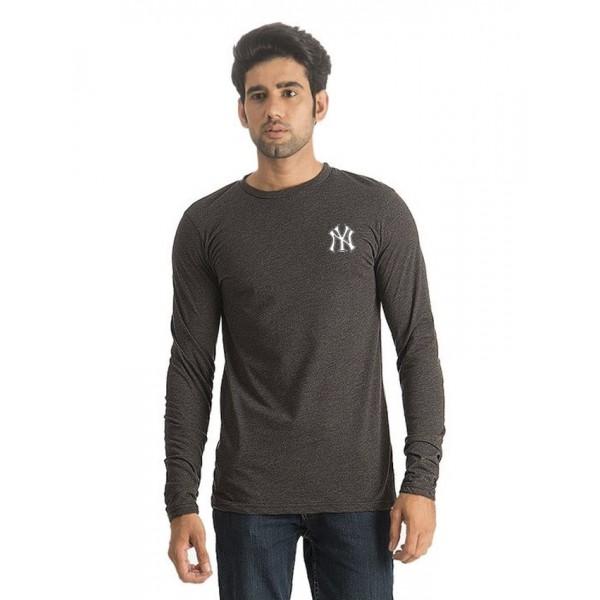Charcoal Police Logo Cotton T shirt For Him