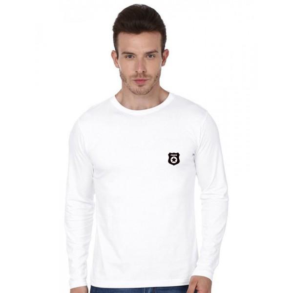 White Police Logo Cotton T shirt For Him