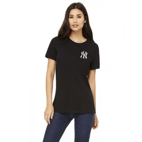 Black NY logo printed t shirt for her