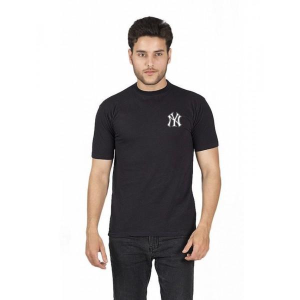 Black NY Logo Printed Cotton T shirt For Him