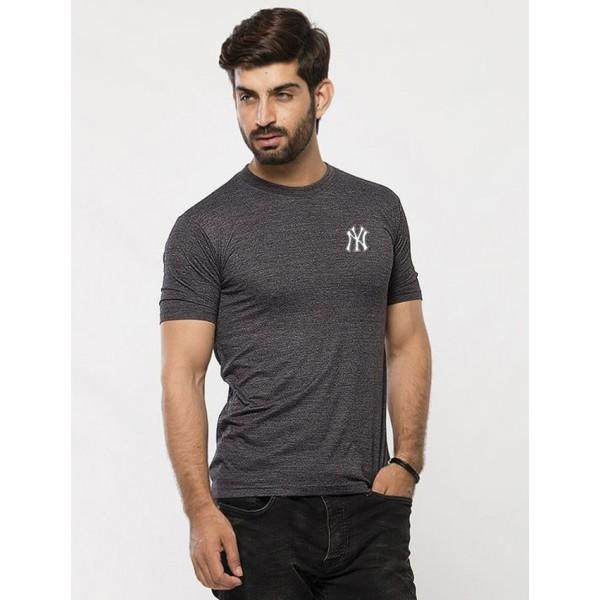 Charcoal NY Logo Cotton Printed T shirt For Him
