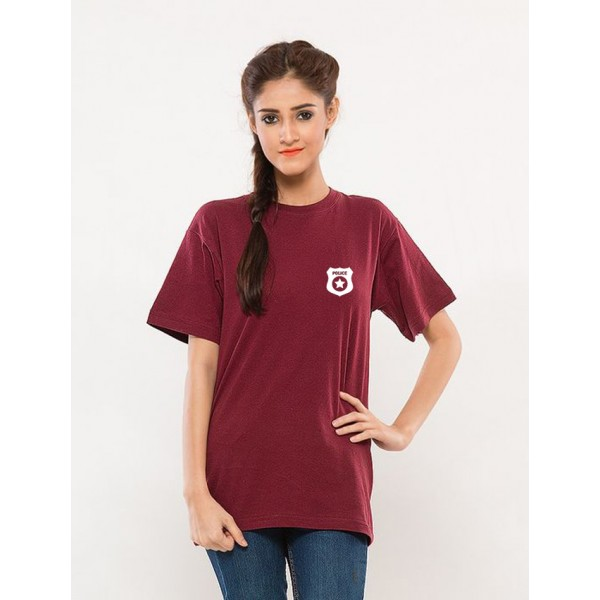 Maroon Police Logo Cotton T shirt For Her
