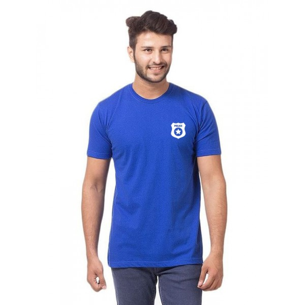 Royal Blue Police Logo Cotton T shirt For Him