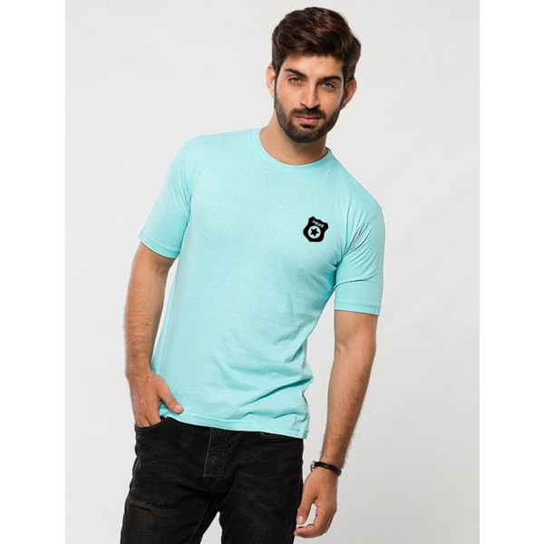 Turquoise Blue Police Logo printed t shirt