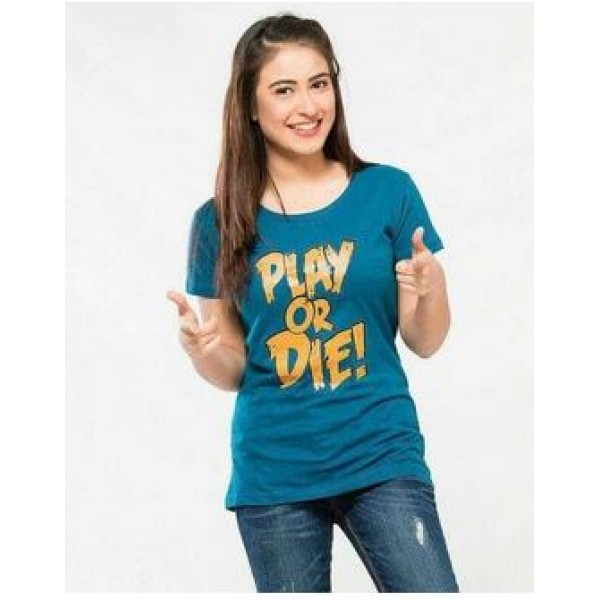 Green Play Or Die Printed T shirt For Her