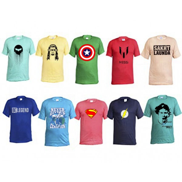 Pack of 10 Printed Cotton unisex T shirts