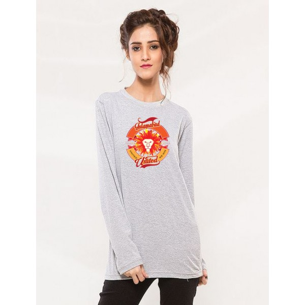 Grey Colour PSL Islamabad United T shirt For Her