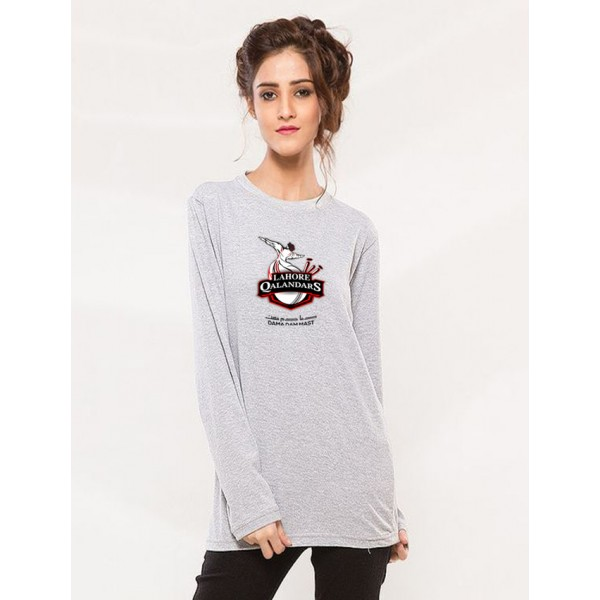 Lahore Qalender T shirt For Her in grey full sleeves
