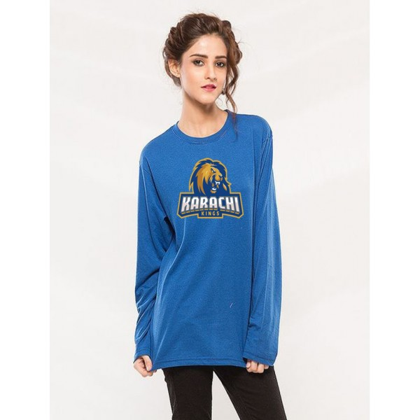 Karachi King PSL T shirt in blue colour For Her