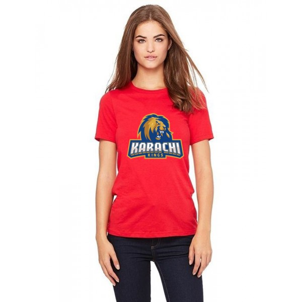 PSL Karachi King T shirt For Her in red colour