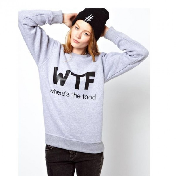 WTF Printed Sweat Shirt For Her in Grey Colour