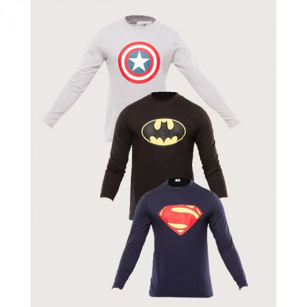 Pack of 03 Super Heroes Full Sleeves T shirt For Him