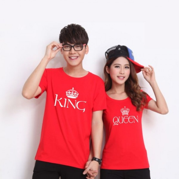 Red Colour King and Queen Printed T Shirt Bundle For Couple