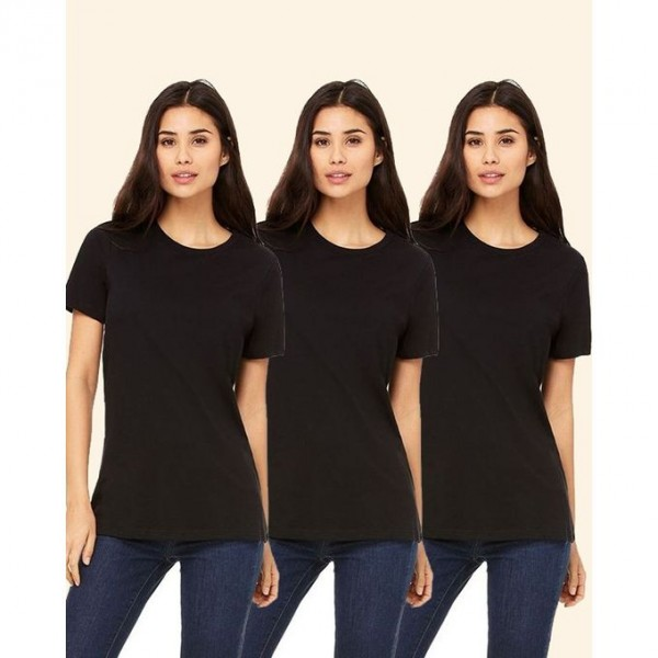 Pack of 03 Plain Black Round Neck T shirts For Her