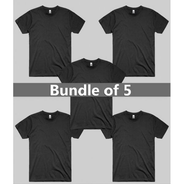 Pack of 05 Plain Black T shirts