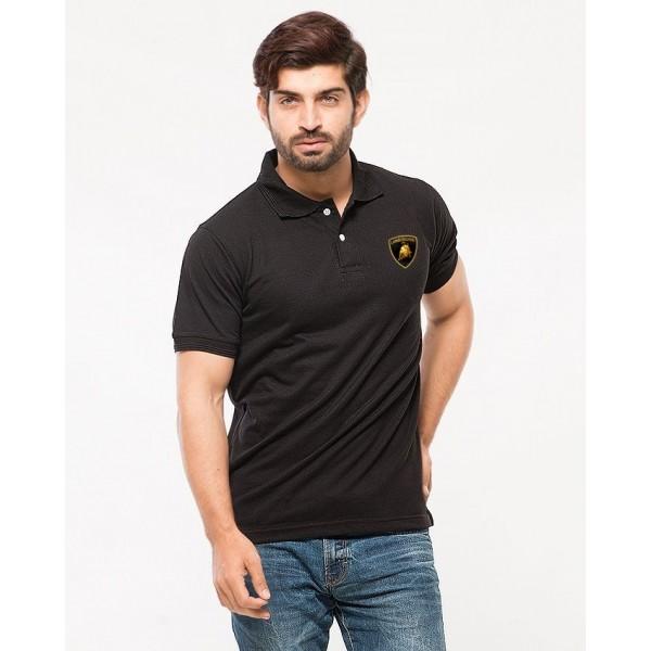 Black Lamborghini Logo Cotton Polo Shirt For Him