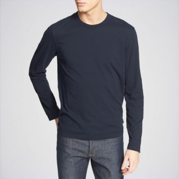 Navy Blue Round Neck Full Sleeves T shirt
