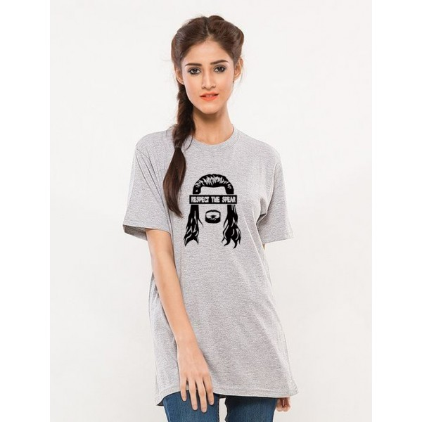 Heather Grey Respect The Spear T shirt For Her