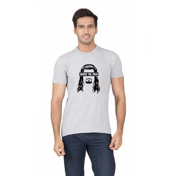 Grey Respect The Spear printed t shirt for him