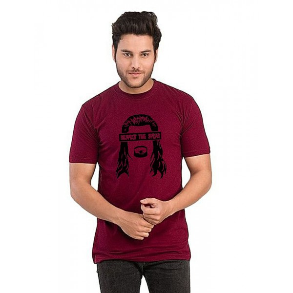 Maroon Respect The Spear Printed t shirt For Him