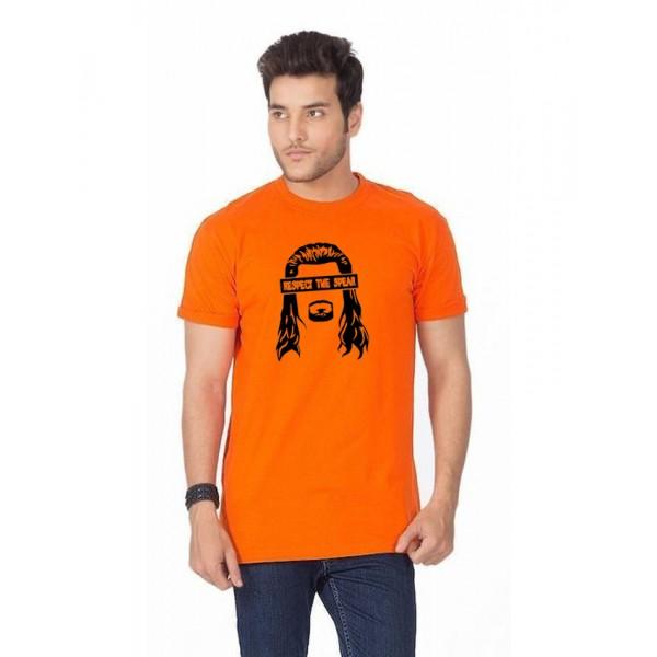 Orange Respect The Spear Cotton T shirt
