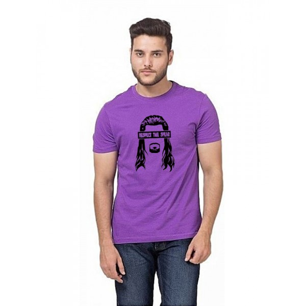 Purple Respect The Spear Cotton Printed T shirt