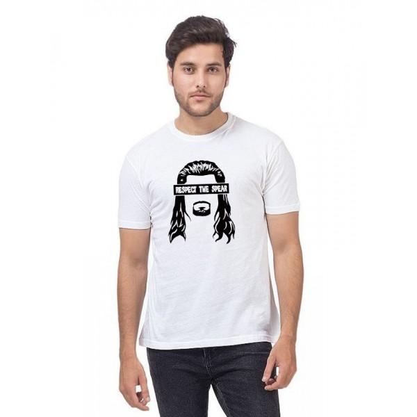 White Round Neck Respect The Spear T shirt