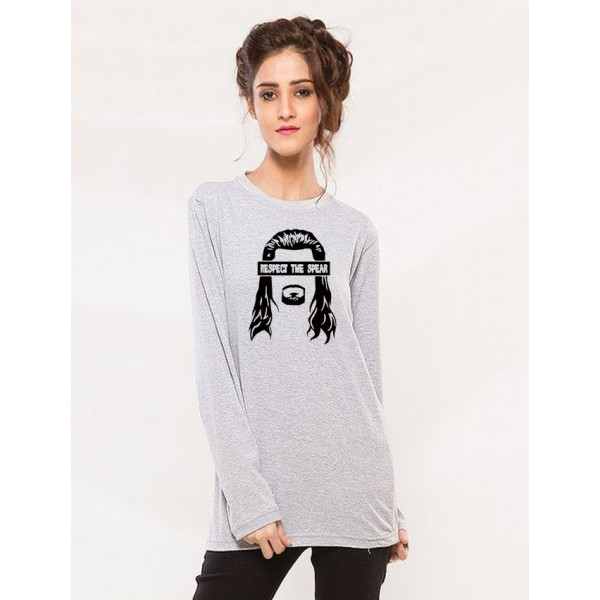 Heather Grey Round Neck Respect The Spear Printed Cotton T shirt for Girls