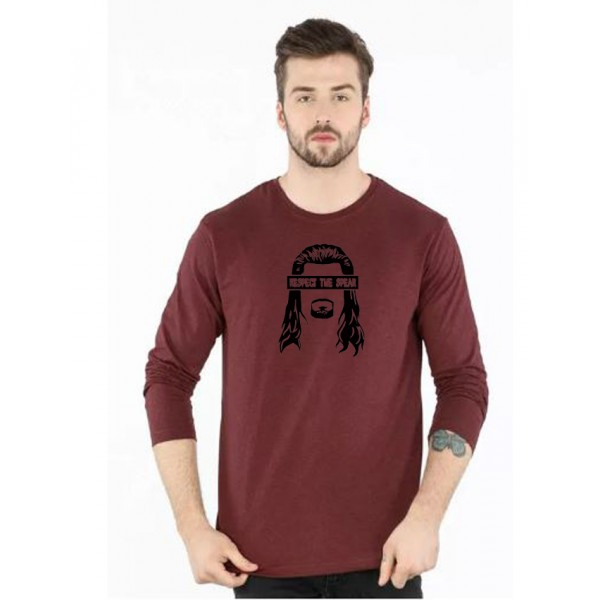 Maroon Round Neck Full Sleeves Respect The Spear T shirt
